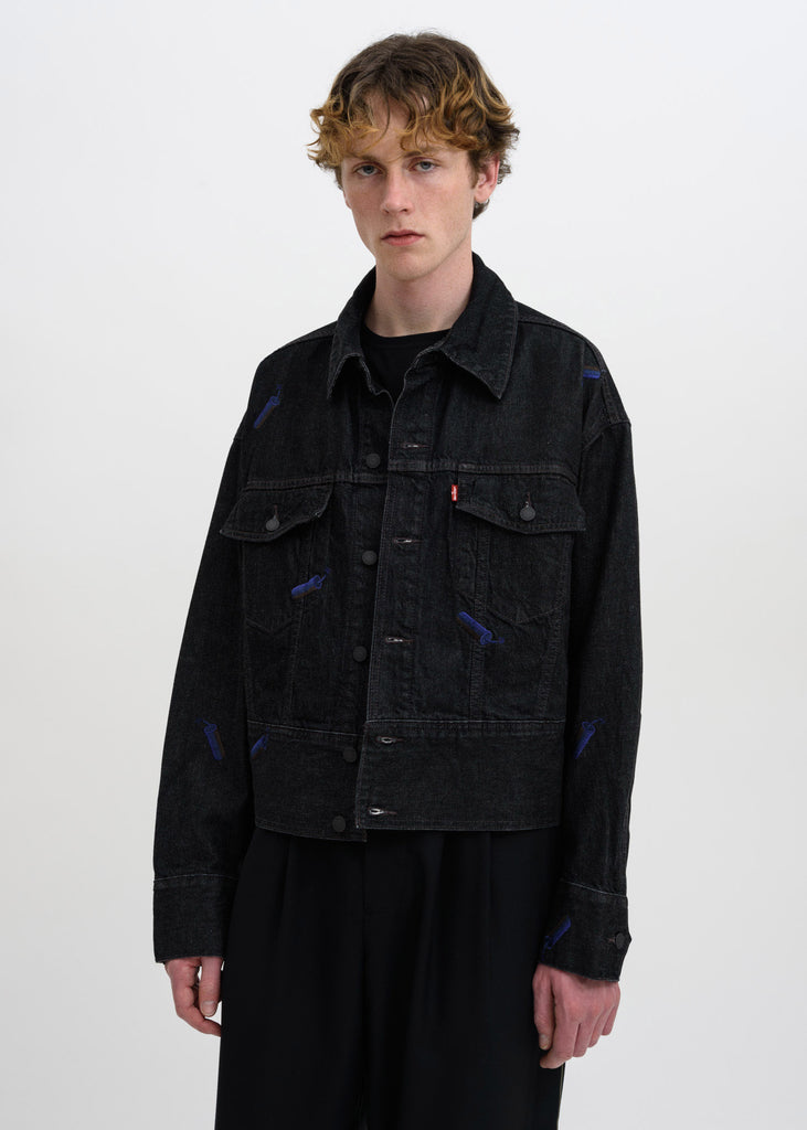 Black FCW Levis Embroidered Trucker Jacket