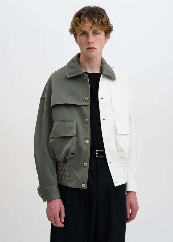 "Green White ""Half"" Casual Jacket"