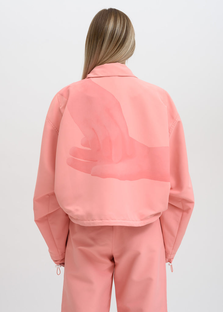 Pink Cropped Zip Up Jacket