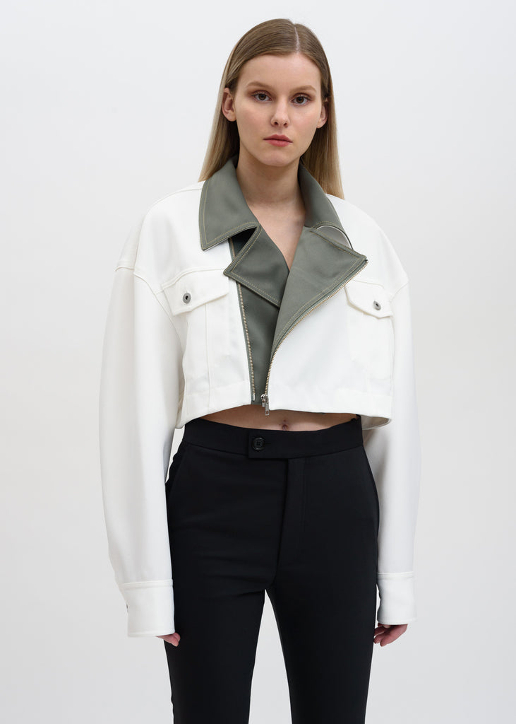Feng Chen Wang, White Color Blocked Double Breasted Jacket, 017 Shop