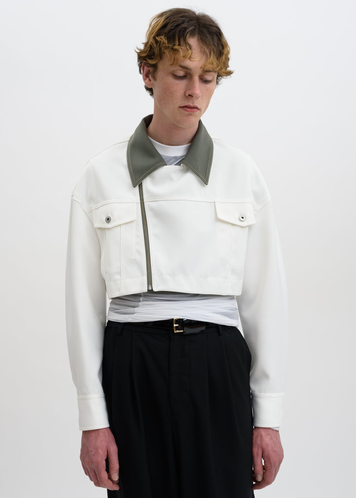 White Color Blocked Double Breasted Jacket
