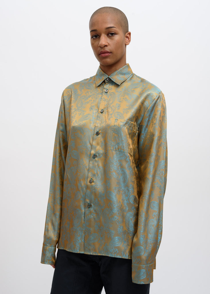 Gold and Turquoise Dieter Paisley Shirt