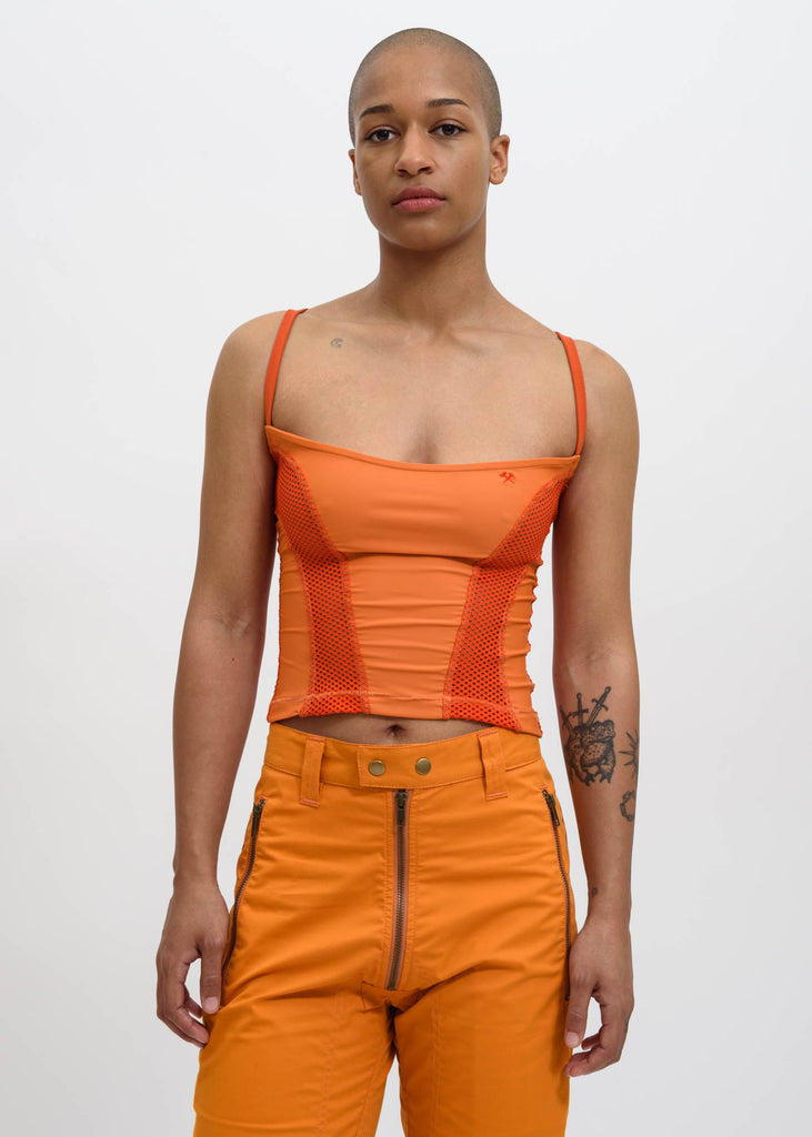Orange Taan Mesh Top