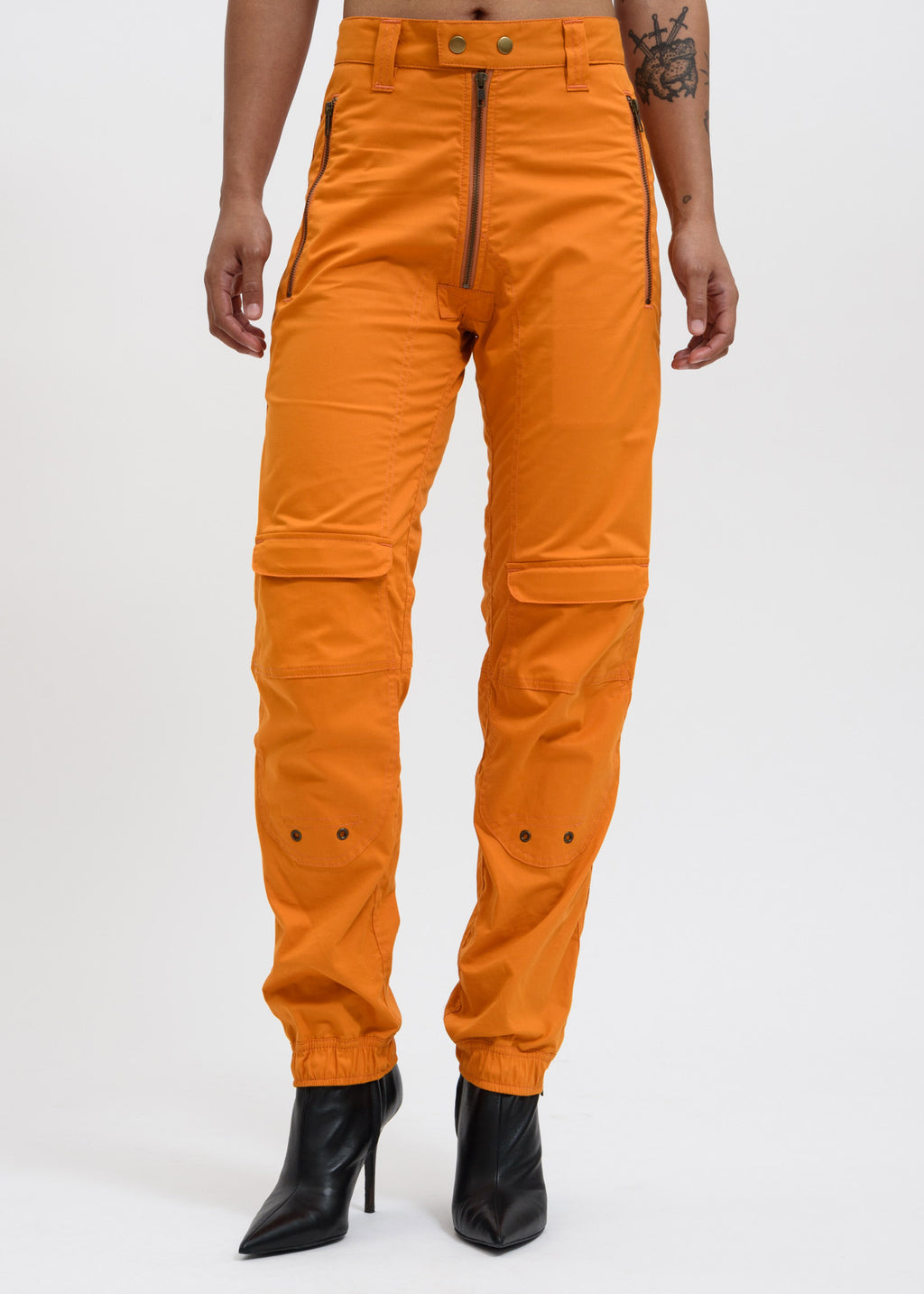 Orange Yolanda Biker Trousers