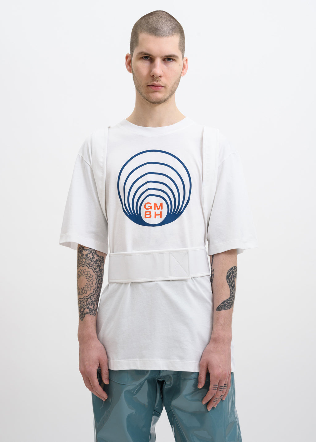 White Ashk T-Shirt w/ Suspenders
