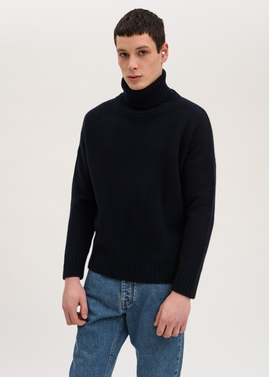 Navy Windy Knit Turtleneck