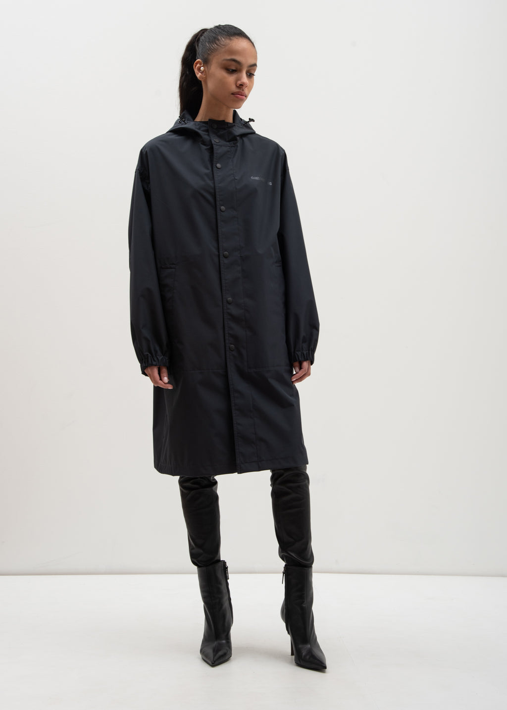 Black Hooded Raincoat (Special Project)