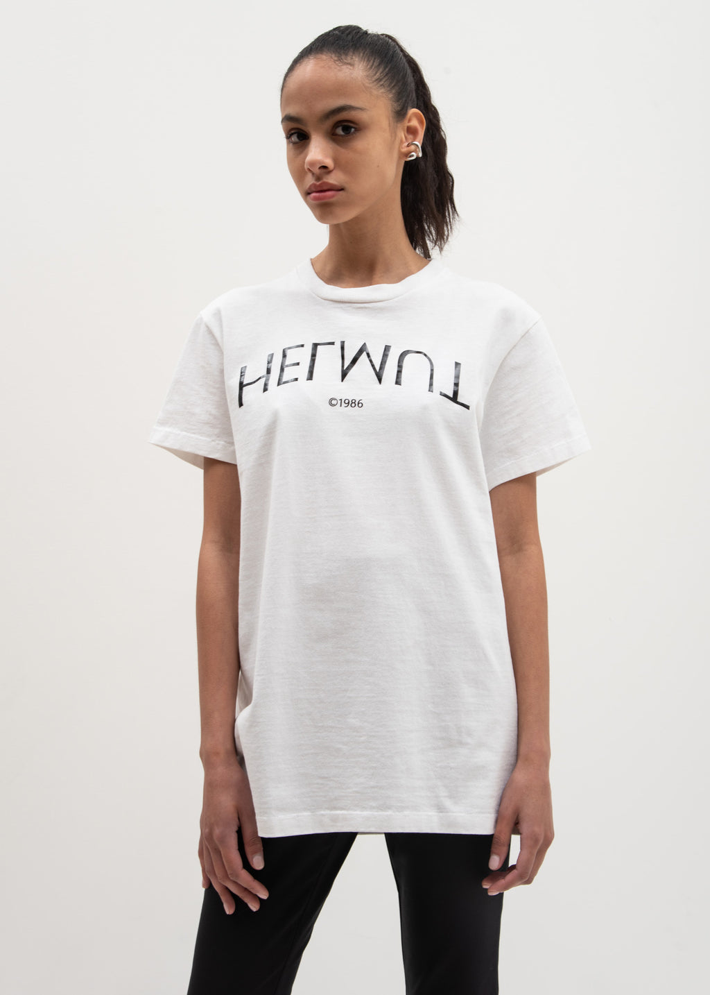 Helmut Lang, Chalk White Helmut Logo Hack Little Tee, 017 Shop