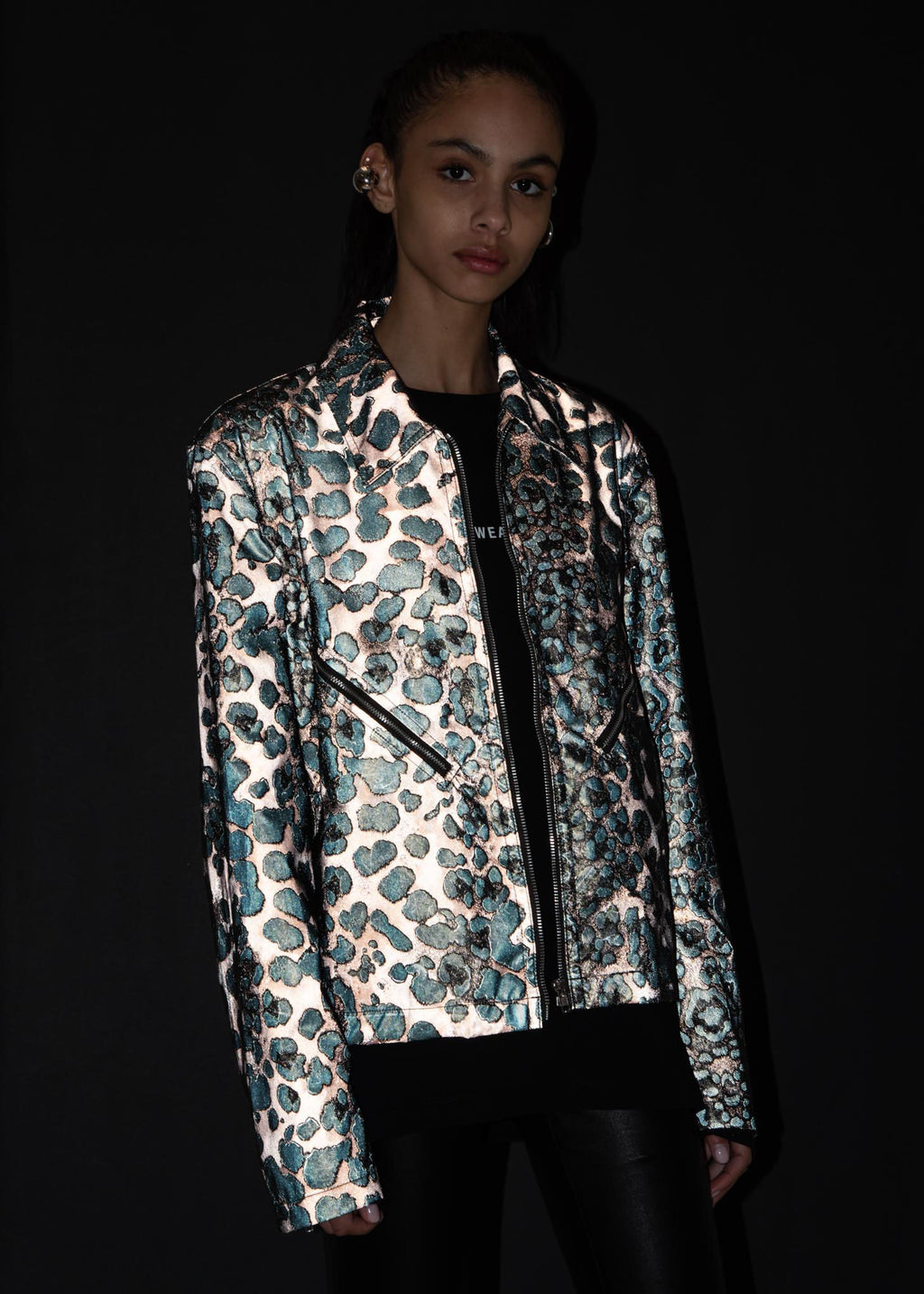 Reflective Leopard Zip Jacket