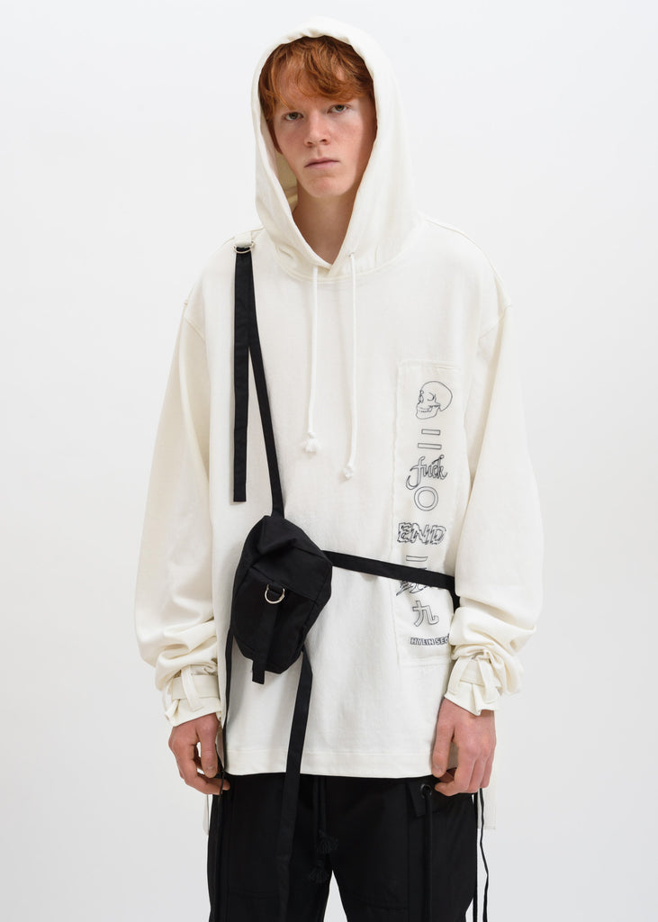 White Graphic Hoodie w/ Bag