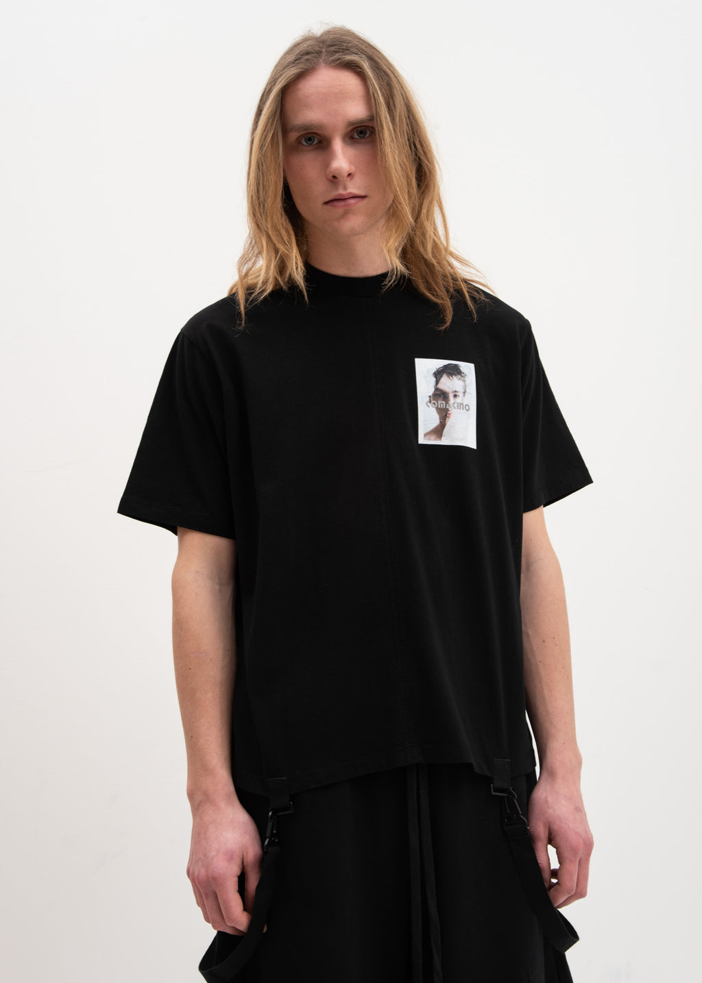 Komakino, Black Boxy T-Shirt Crashed 3M, 017 Shop