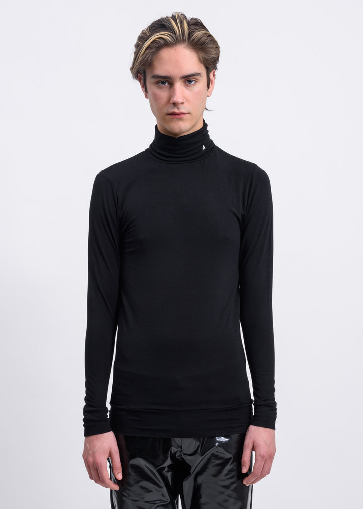 Black A Logo Turtleneck Long Sleeve