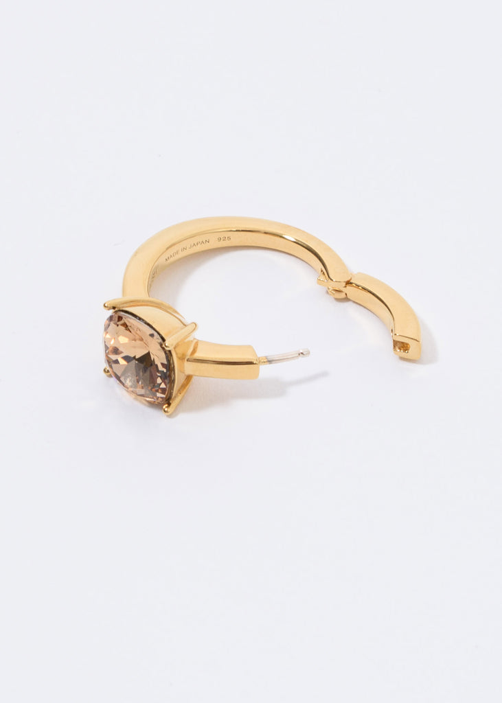 Gold And Gold  Solitaire Single Earring
