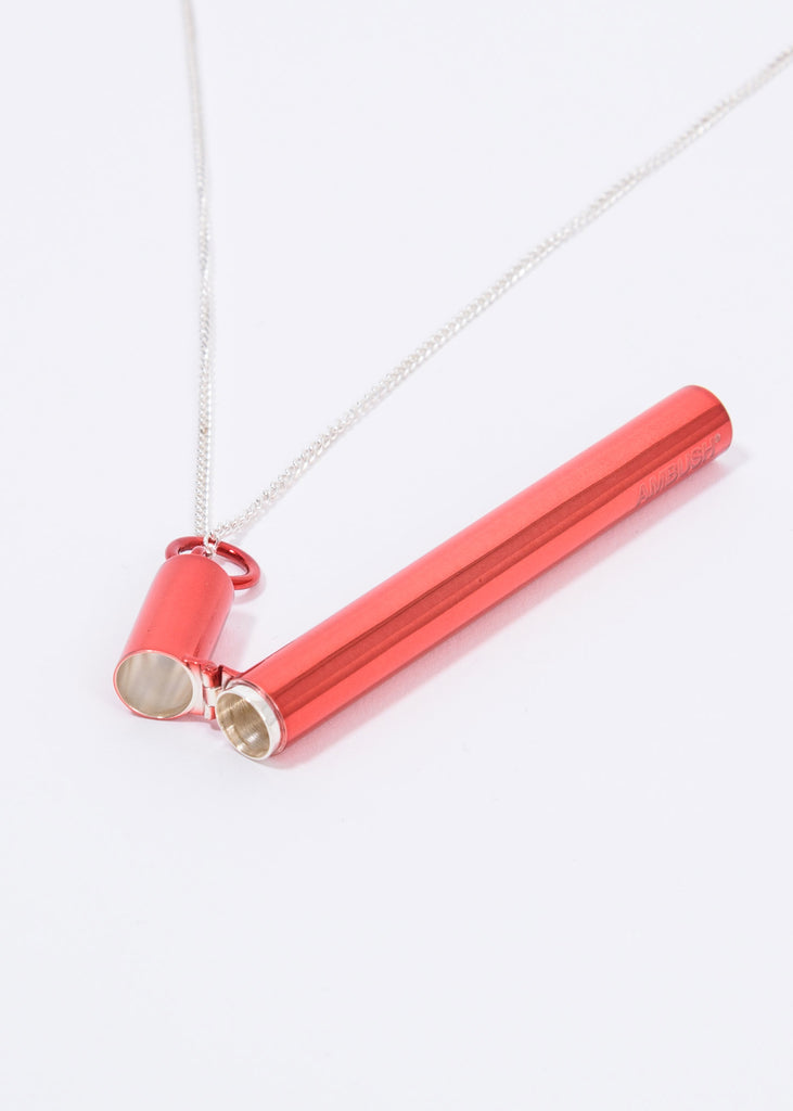 Red And Silver SSS Cig Case Necklace
