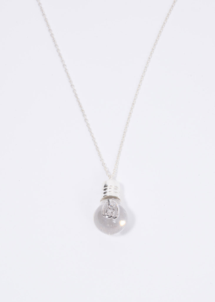 Silver Lightbulb Charm Necklace