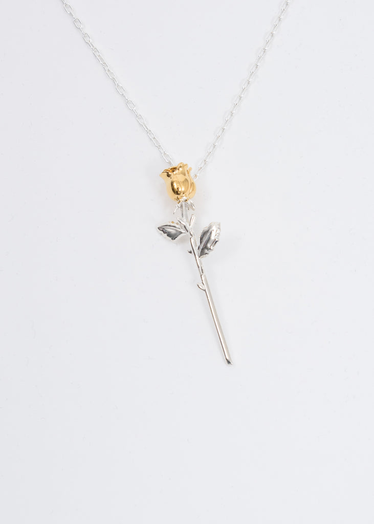 Silver Rose Charm Necklace