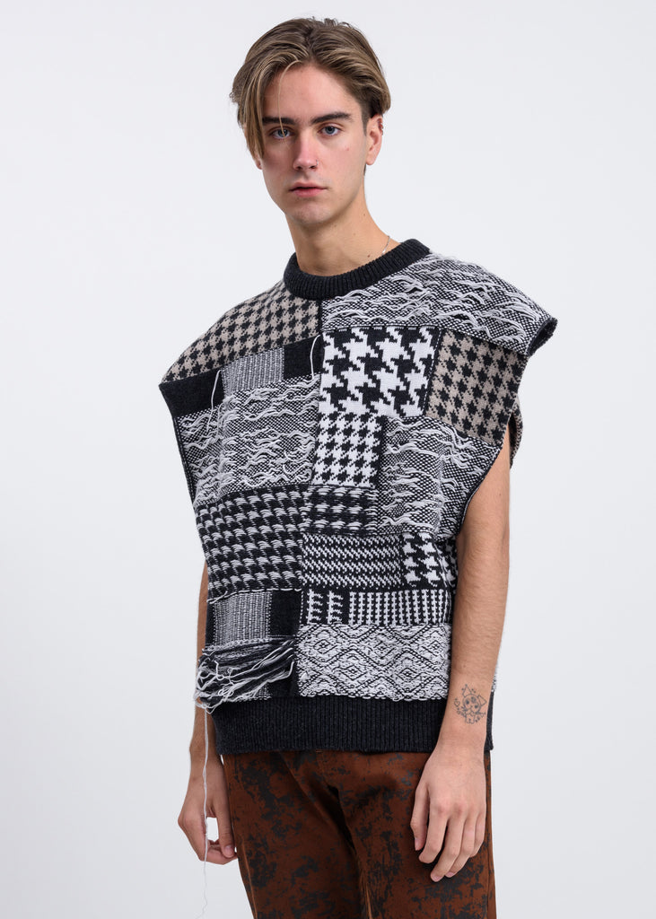 Black And White Leon Patchwork Vest