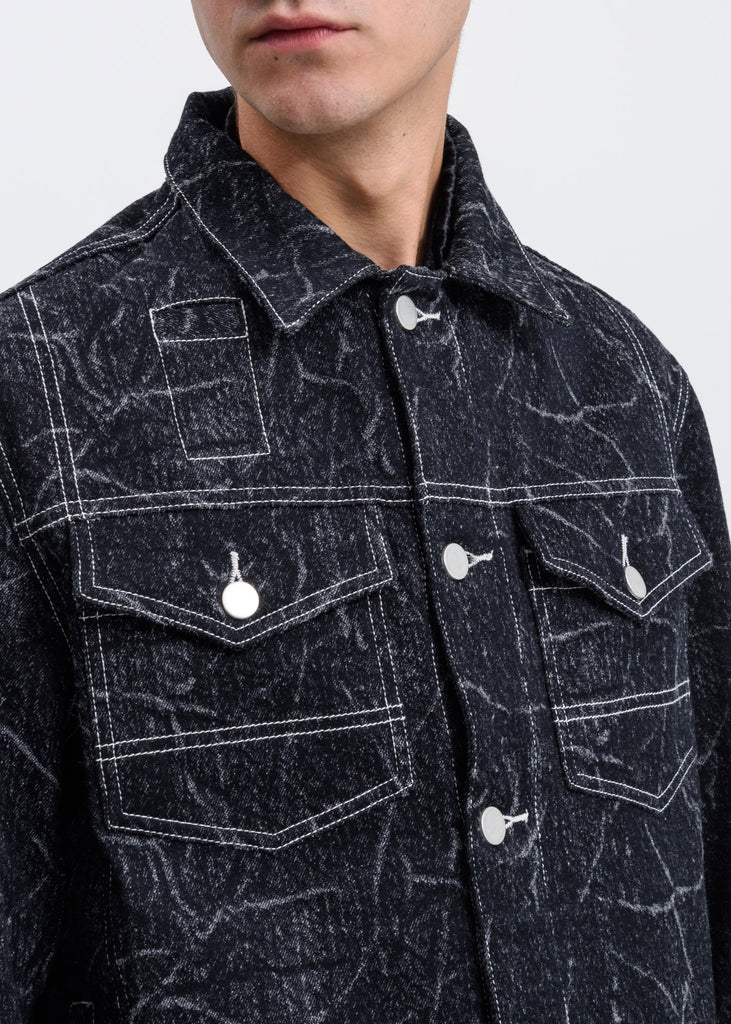 Black Brandon Wool Denim Jacket