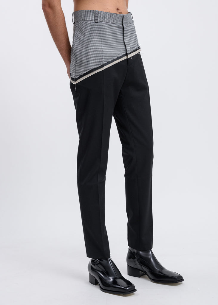 Black Houndstooth D'angelo Raw Trousers