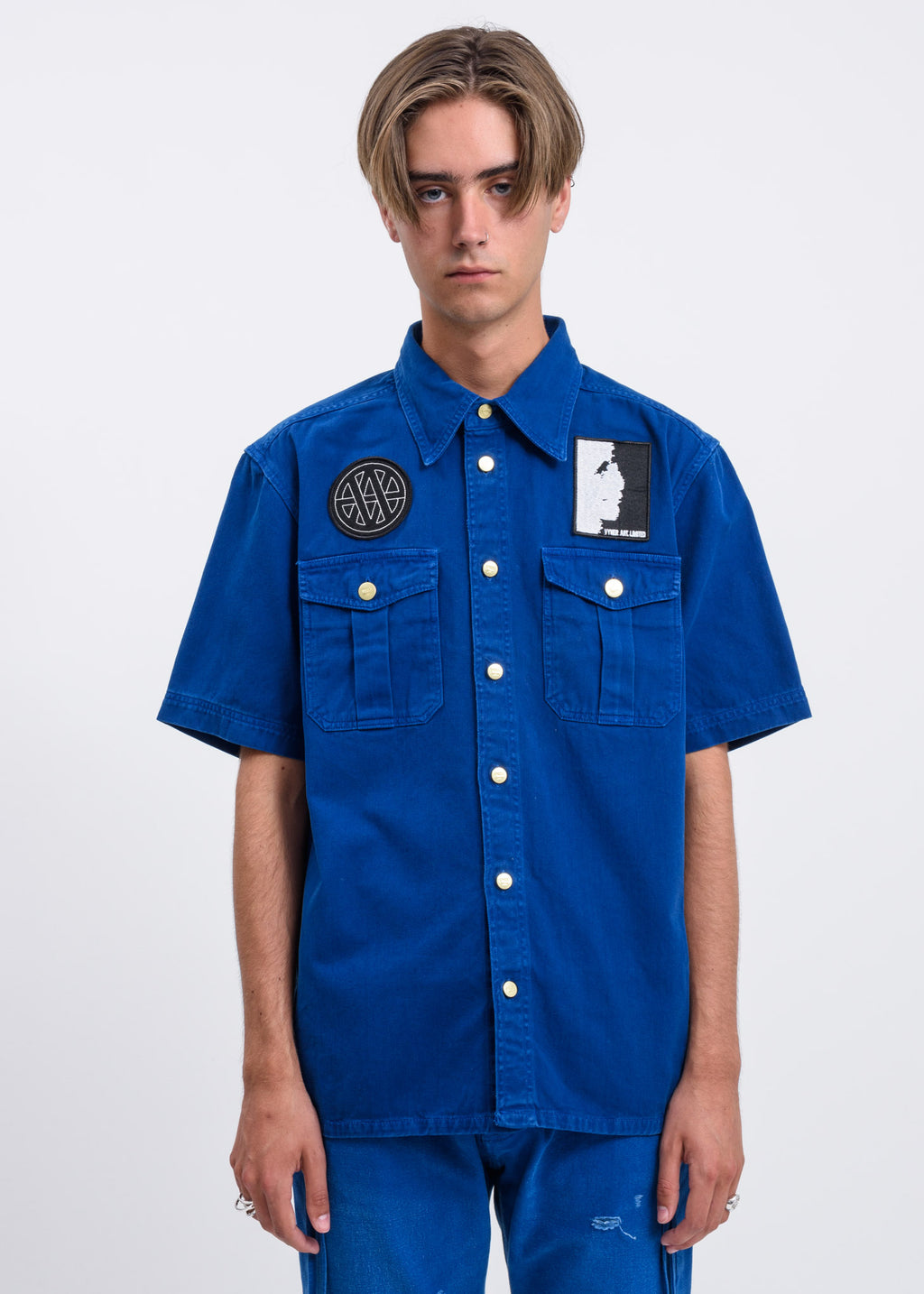 Blue Treatment and Patches Scout Shirt