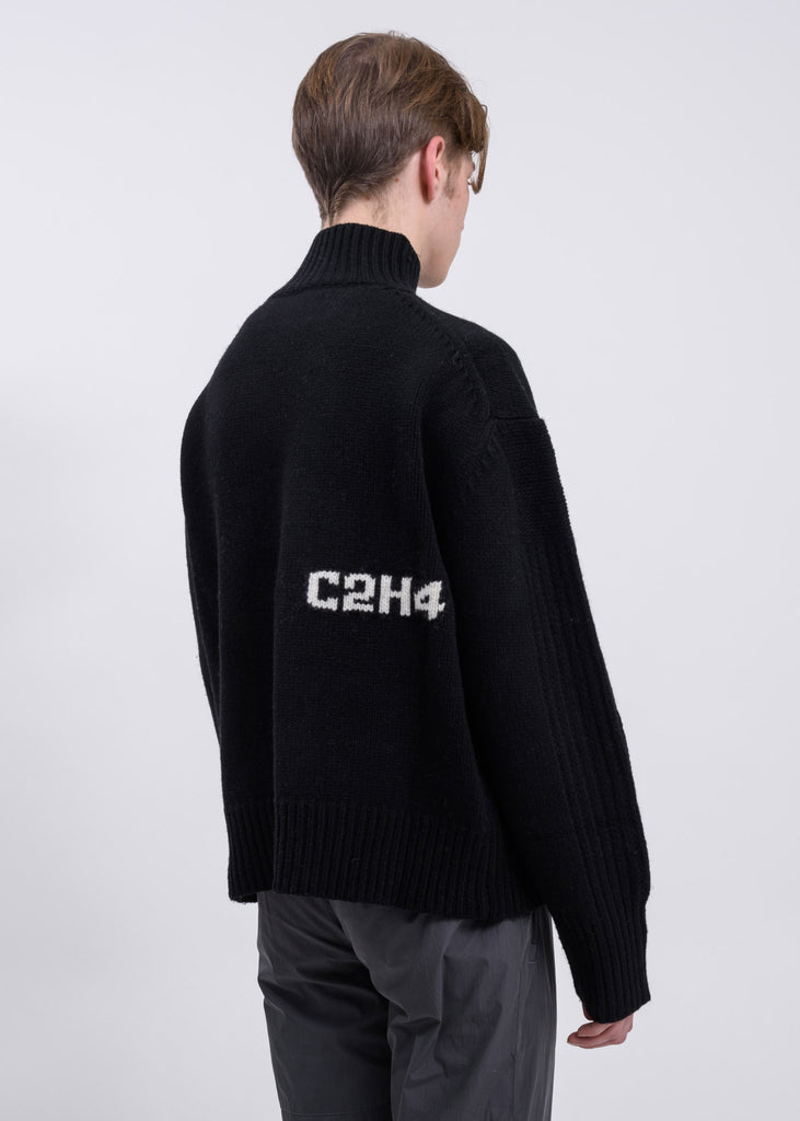 Black Panelled Turtleneck Sweater