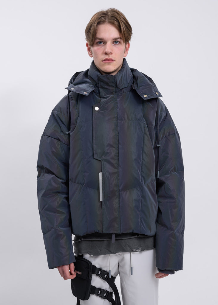 Grey 3M Reflective Hooded Down Jacket