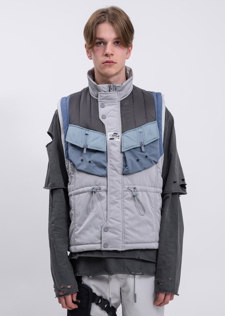 Grey And Blue Memory Supervisor Panelled Quilted Gilet Vest
