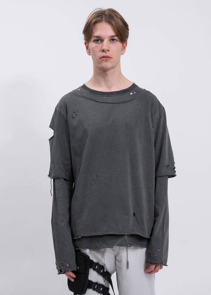 Light Grey Distressed Double Layer Long Sleeves T-Shirt