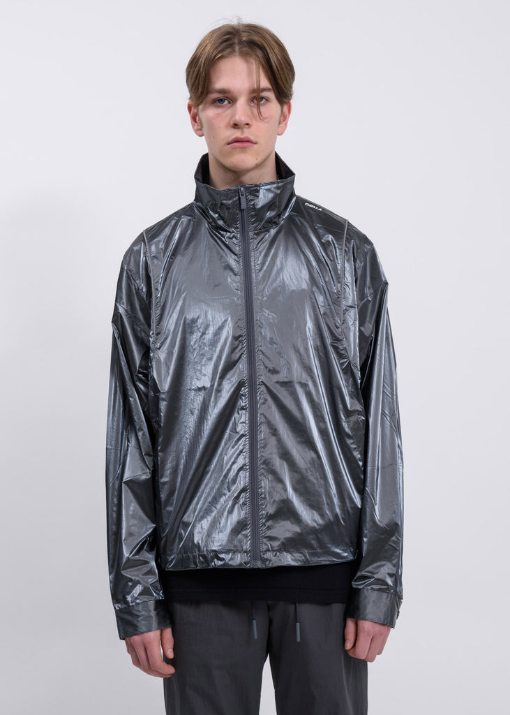 Metallic Silver Piping Track Jacket