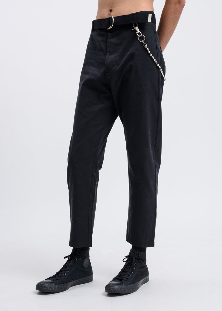 Black Tencel Linen Twill Pants w/ Chain