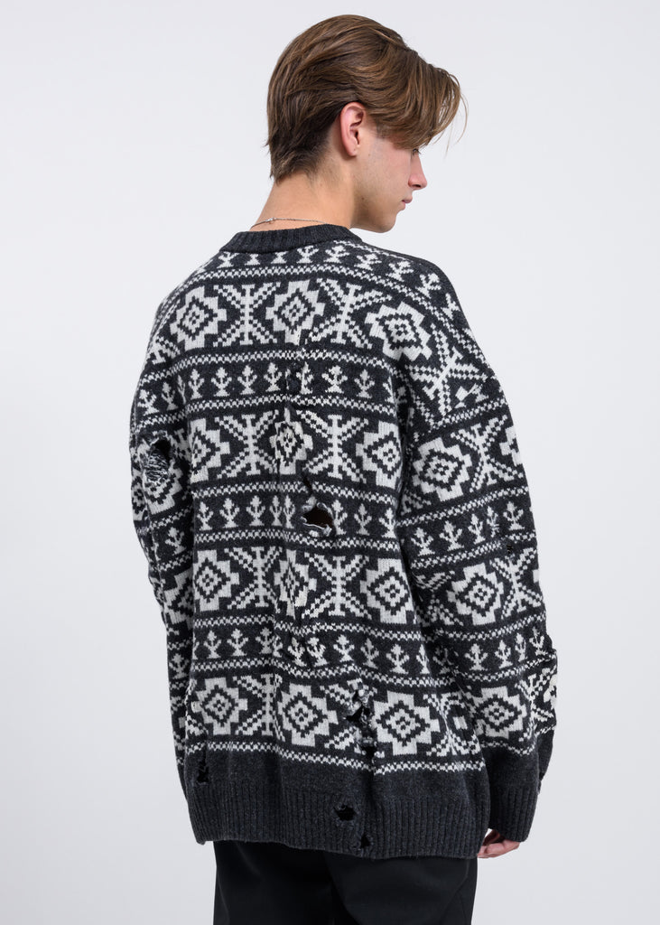 Cmmn Swdn, Charcoal Grey Theis Distressed Fairisle Jumper, 017 Shop