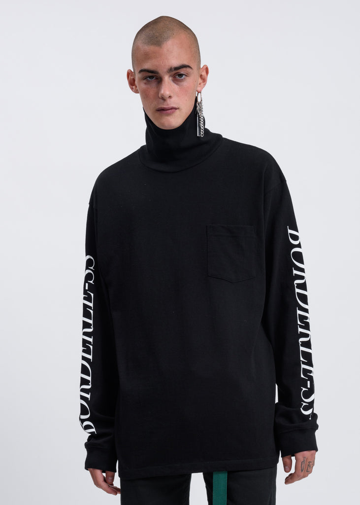Black BORDERLESS Print Turtleneck Long Sleeve T-shirt