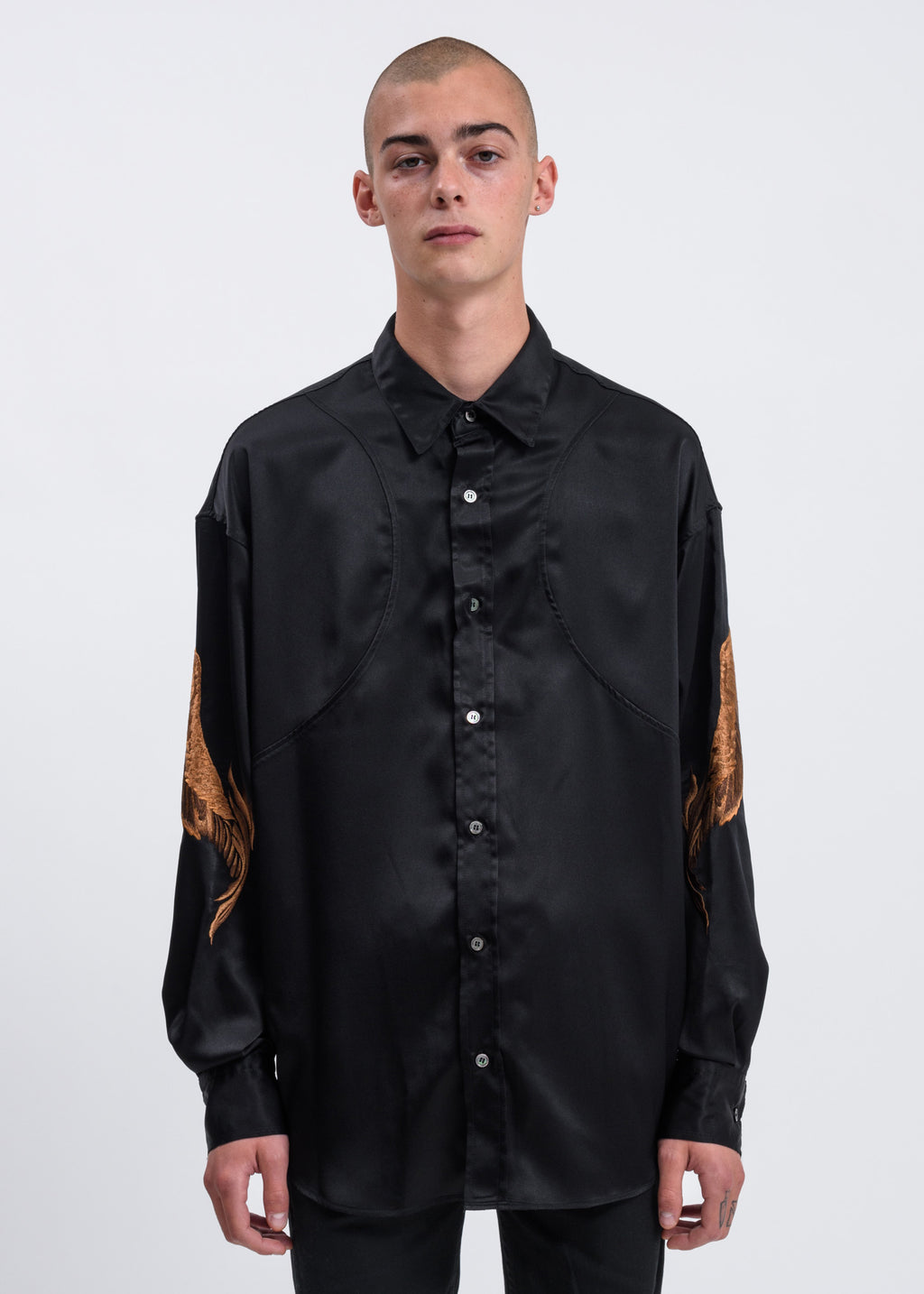 Black Feather Embroidery Shirt