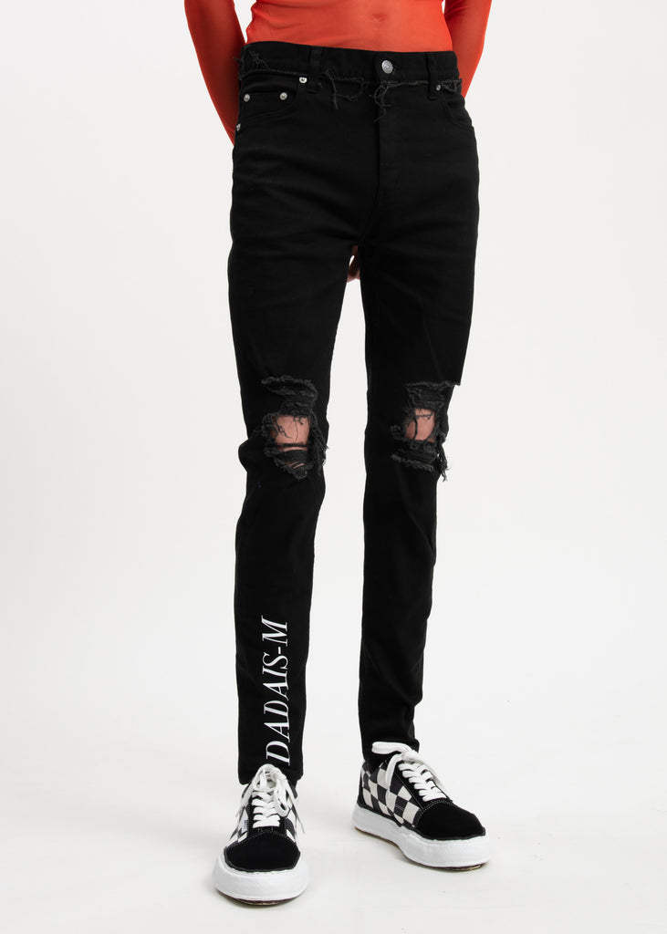 Black Knee Damaged Super Skinny Signature Trousers