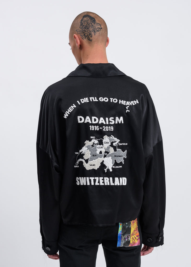 Black Oversized Satin Vietnam Shirt