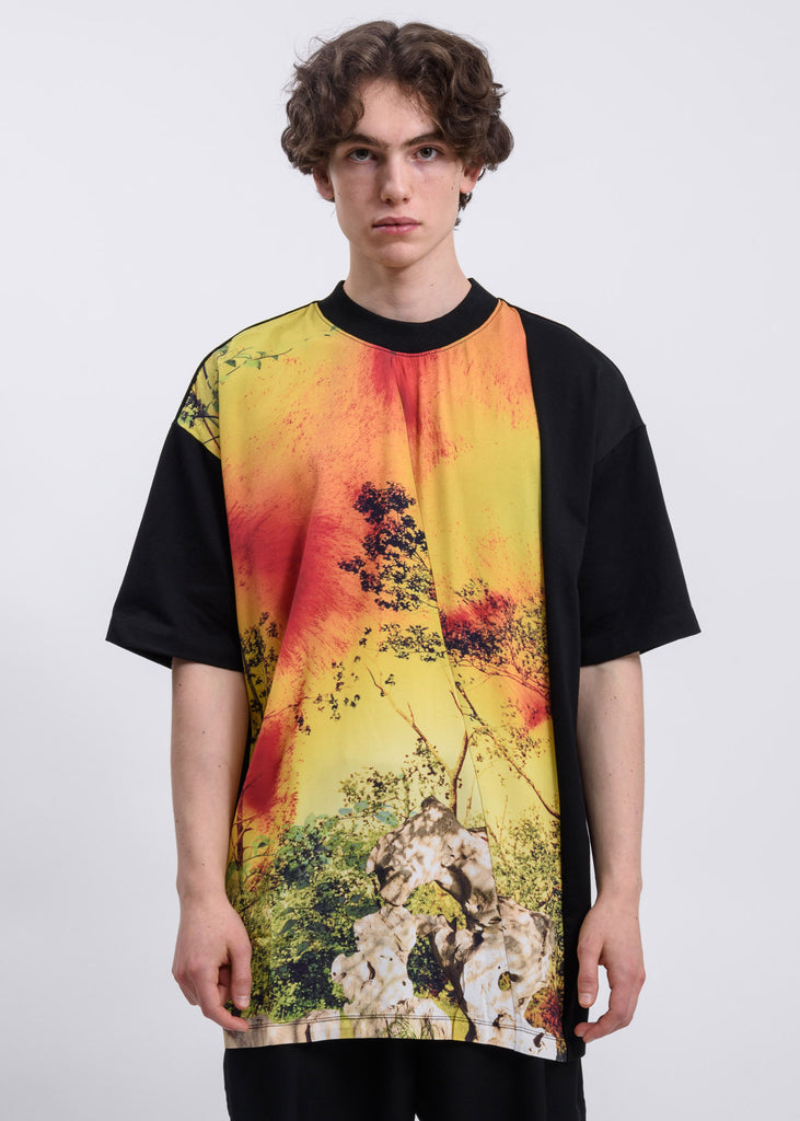 Black and Yellow Guohua Panel T-Shirt