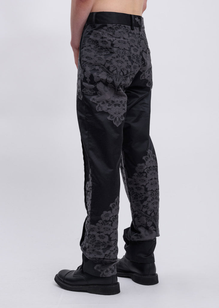 Black Paisley Embroidered Trousers