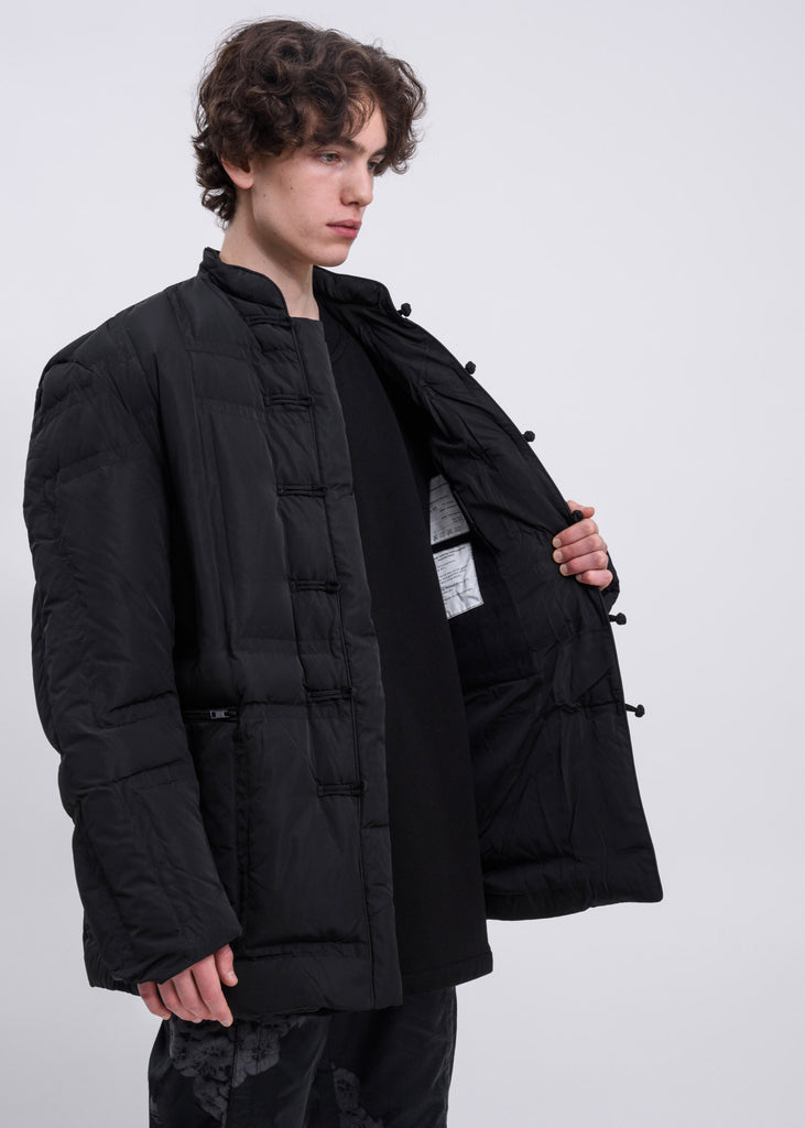 Black Panel Puffer Tang Coat