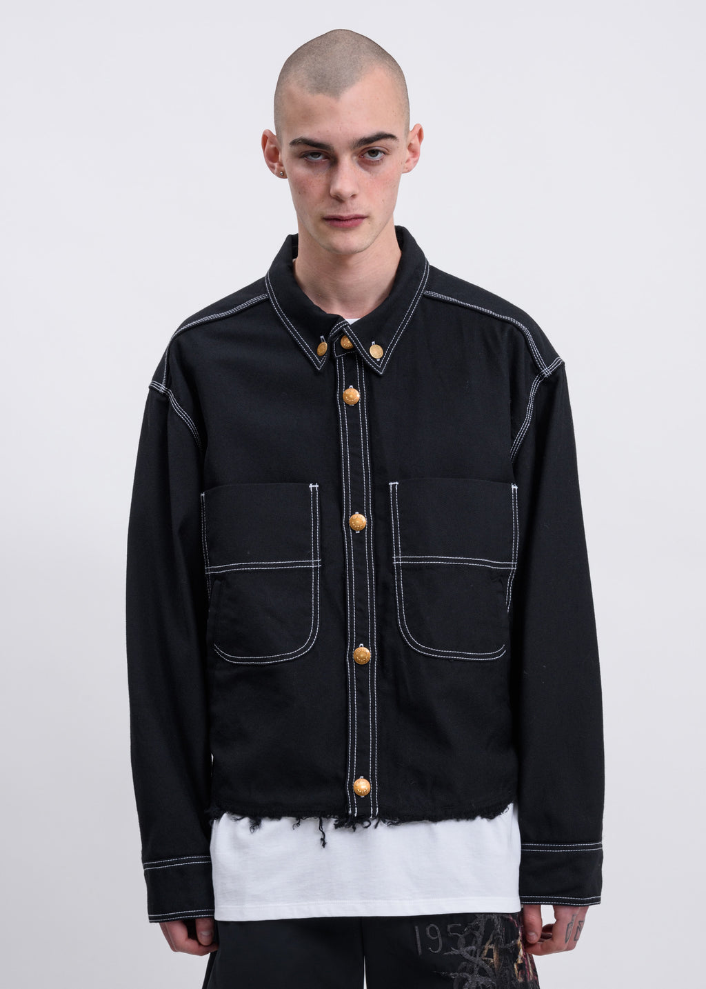 Black Heavy Twill Cut Off Jacket