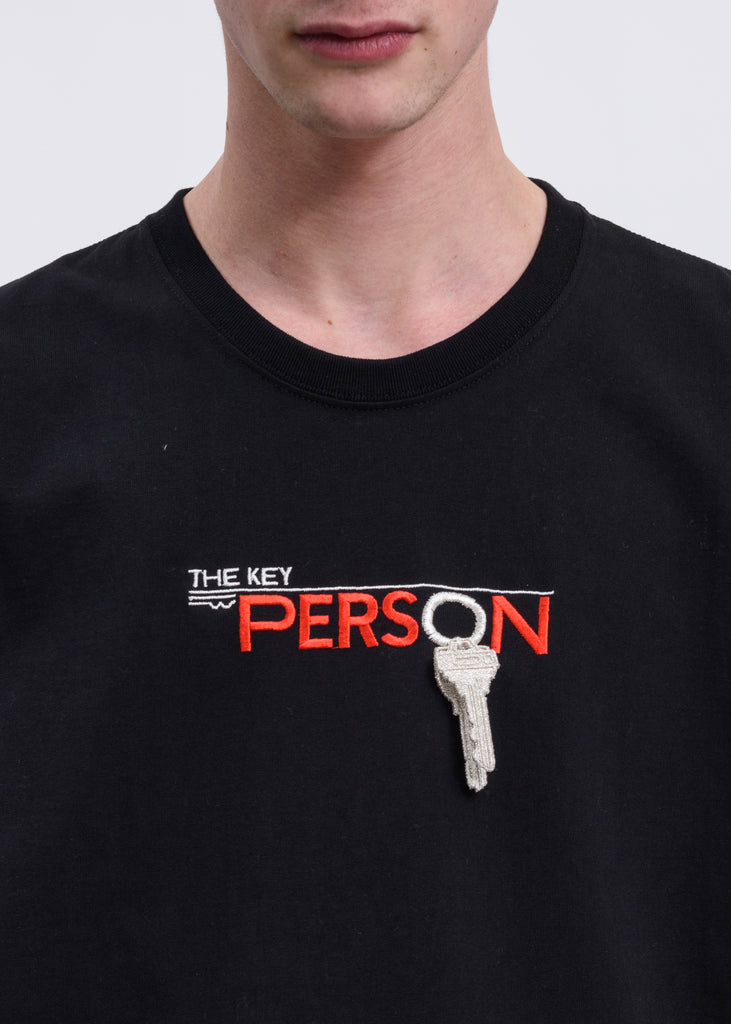 "Black ""Key Person"" Embroidery T-Shirt"