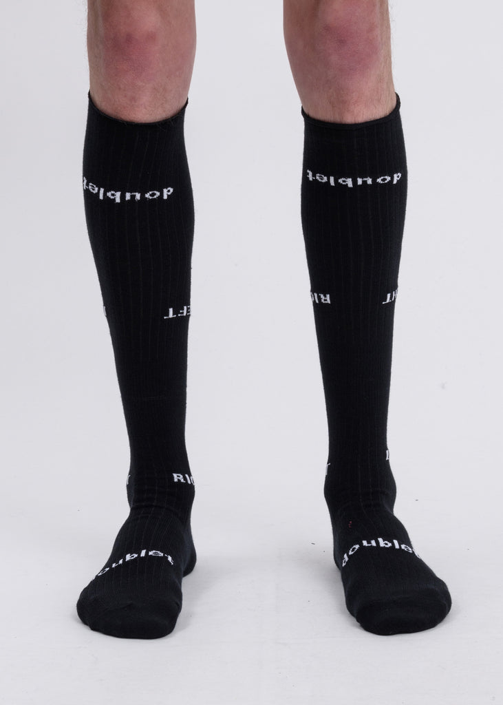 "Black ""Left And Right"" High Socks"