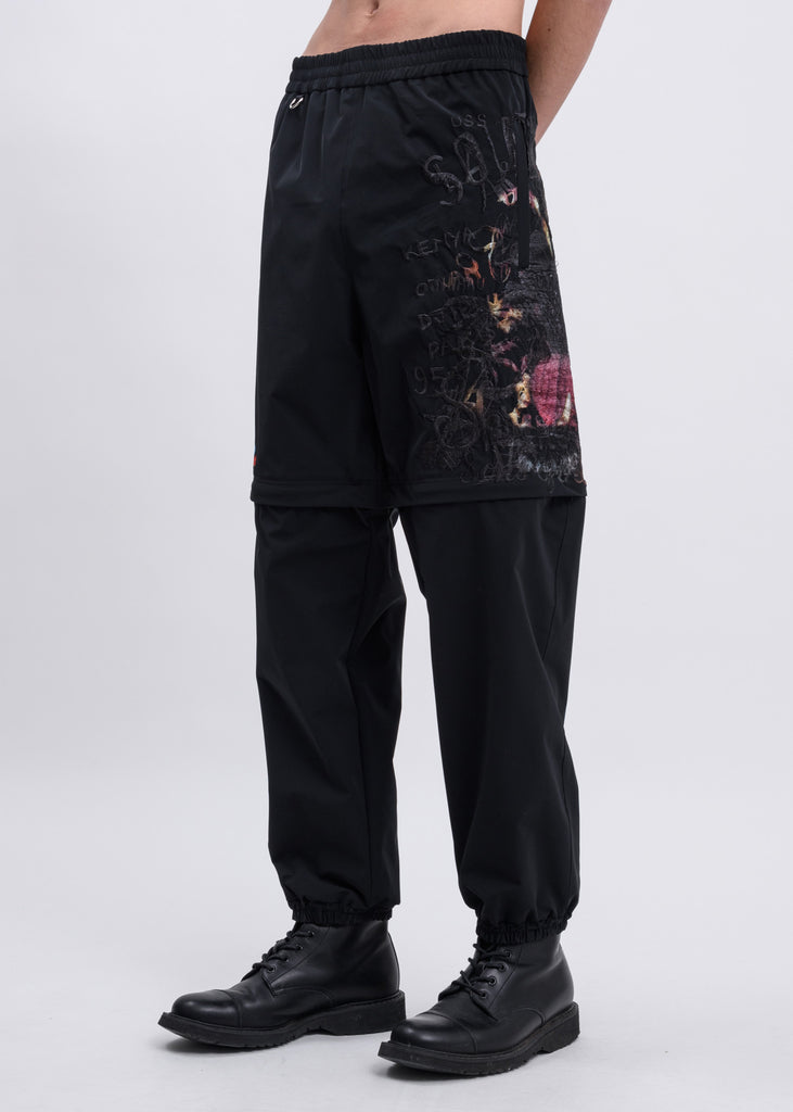 Black Printed Chaos Embroidery Two Way Pants