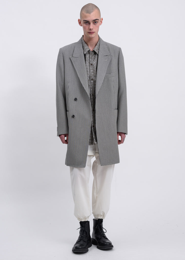 Doublet, Houndstooth Pe/W Hand-Painted Long Tailored Jacket, 017 Shop