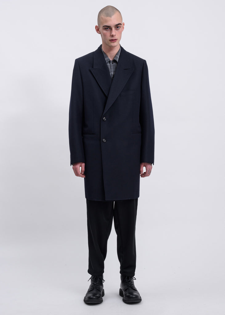 Navy Pe/W Hand-Painted Long Tailored Jacket