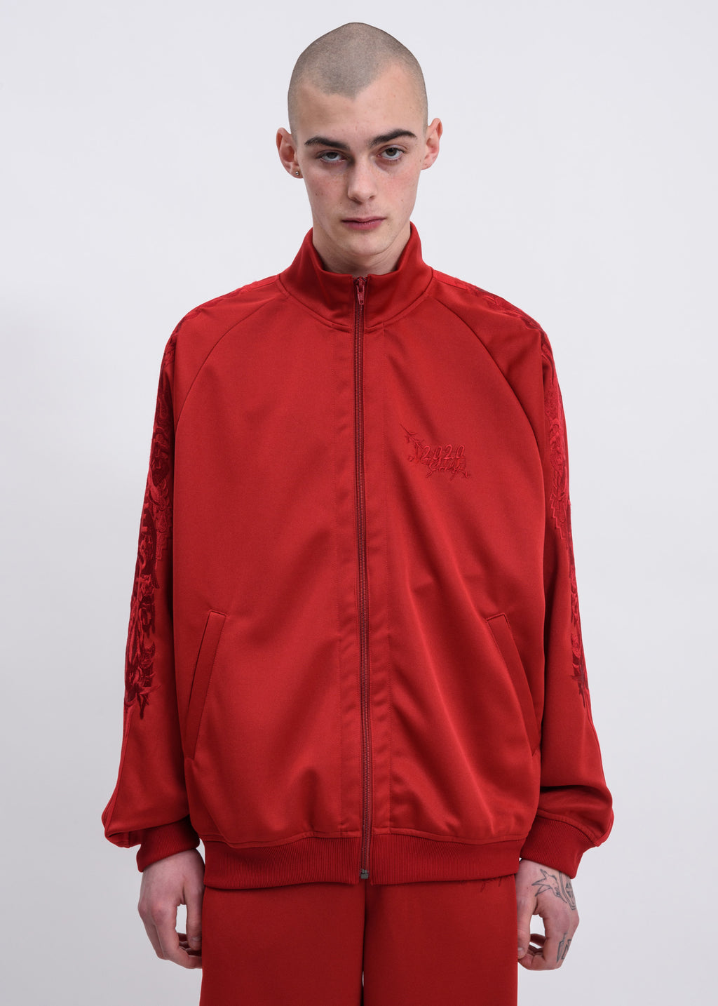 Red Chaos Embroidery Track Jacket