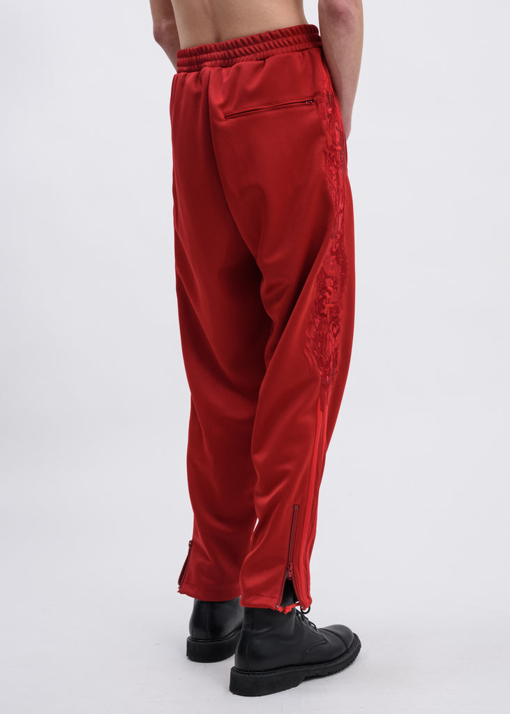 Red Chaos Embroidery Track Pants