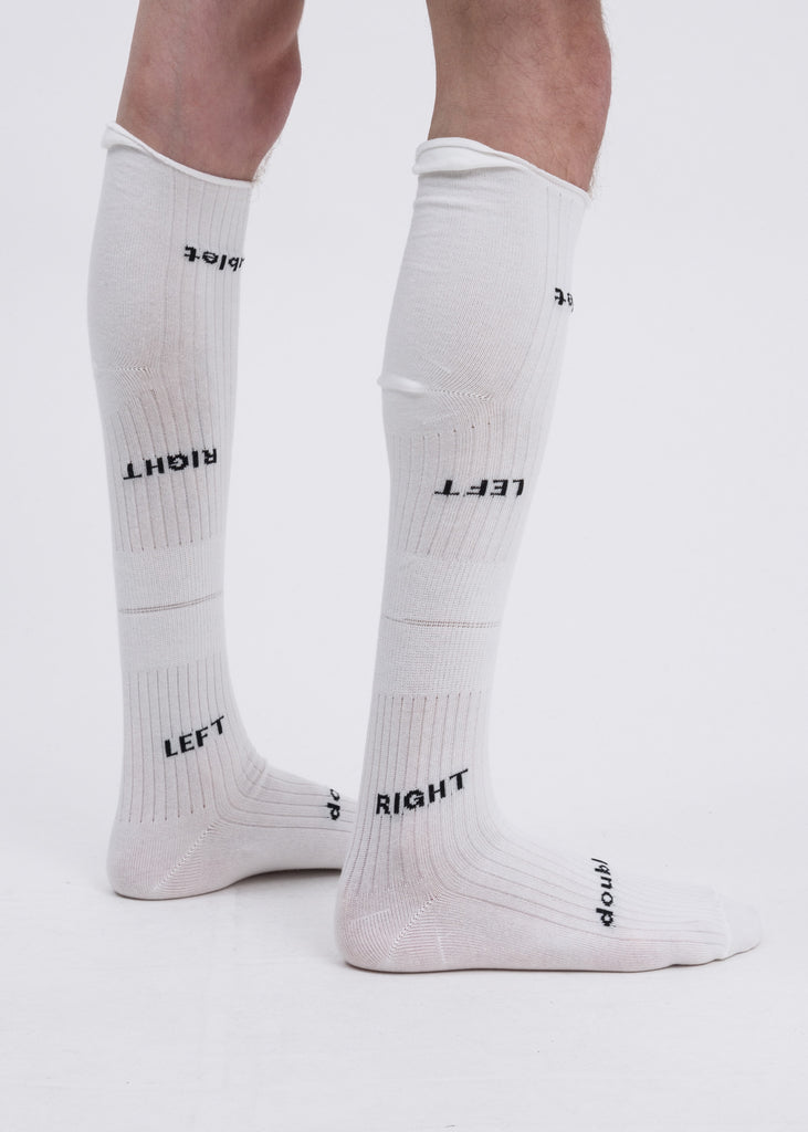 "Doublet, White ""Left And Right"" High Socks, 017 Shop"