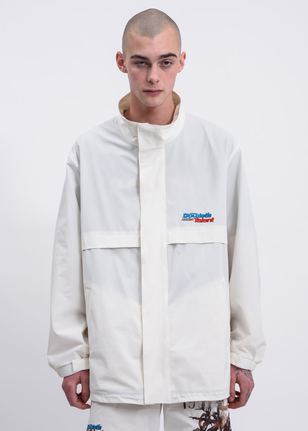 Doublet, White Printed Chaos Embroidery Track Jacket, 017 Shop