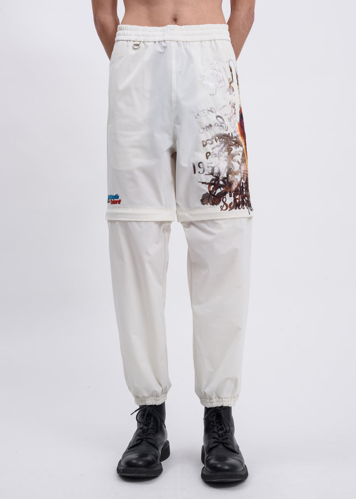 White Printed Chaos Embroidery Two Way Pants