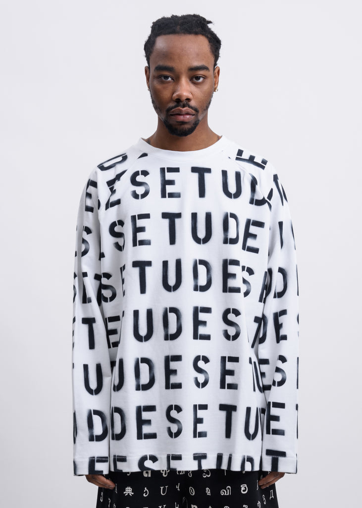 White Desert Stencil Long Sleeves